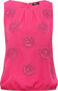 Petite Sleeveless Beaded Top Raspberry - neckline: round neck; pattern: plain; sleeve style: sleeveless; bust detail: added detail/embellishment at bust, ruching/gathering/draping/layers/pintuck pleats at bust, tiers/frills/bulky drapes/pleats; waist detail: elasticated waist; predominant colour: hot pink; occasions: casual, evening; length: standard; style: top; fibres: polyester/polyamide - 100%; fit: straight cut; sleeve length: sleeveless; texture group: sheer fabrics/chiffon/organza etc.; pattern type: fabric; pattern size: small & light; embellishment: beading