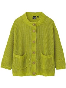 Women Dip Iliann Loeb Linen Crew Neck Cardigan 50 Light Green - neckline: round neck; pattern: plain; sleeve style: sleeveless; predominant colour: lime; occasions: casual; length: standard; style: standard; fibres: linen - 100%; fit: loose; sleeve length: 3/4 length; texture group: knits/crochet; pattern type: knitted - other