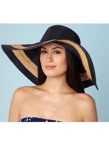 Dark Blue Floppy Brim Sun Hat - predominant colour: navy; occasions: casual, holiday; type of pattern: standard; style: wide brimmed; size: large; material: macrame/raffia/straw; pattern: two-tone