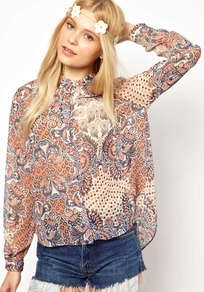 Chelsea Girl Paisley Print Shirt - neckline: shirt collar/peter pan/zip with opening; style: shirt; pattern: paisley; occasions: casual, holiday; length: standard; fibres: polyester/polyamide - 100%; fit: loose; predominant colour: multicoloured; sleeve length: long sleeve; sleeve style: standard; texture group: sheer fabrics/chiffon/organza etc.; pattern type: fabric; pattern size: big & busy