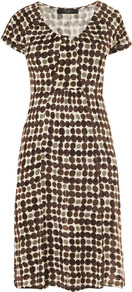 Tema Dress - style: shift; neckline: round neck; predominant colour: chocolate brown; occasions: casual, work; length: just above the knee; fit: fitted at waist & bust; fibres: polyester/polyamide - 100%; hip detail: soft pleats at hip/draping at hip/flared at hip; sleeve length: short sleeve; sleeve style: standard; pattern type: fabric; pattern size: standard; pattern: patterned/print; texture group: jersey - stretchy/drapey