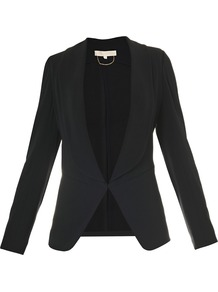 Crepe Satin Jacket - pattern: plain; style: single breasted blazer; collar: shawl/waterfall; predominant colour: black; occasions: evening, work, occasion; length: standard; fit: tailored/fitted; fibres: polyester/polyamide - 100%; waist detail: fitted waist; sleeve length: long sleeve; sleeve style: standard; texture group: crepes; collar break: low/open; pattern type: fabric; pattern size: standard