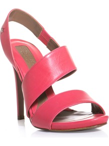 Cervino Sandals - predominant colour: hot pink; occasions: evening, occasion, holiday; material: leather; heel height: high; heel: stiletto; toe: open toe/peeptoe; style: strappy; finish: plain; pattern: plain