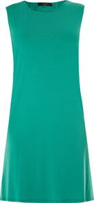 Fidato Dress - style: shift; neckline: round neck; pattern: plain; sleeve style: sleeveless; predominant colour: emerald green; occasions: casual, evening; length: just above the knee; fit: soft a-line; fibres: cotton - mix; sleeve length: sleeveless; pattern type: fabric; pattern size: standard; texture group: jersey - stretchy/drapey