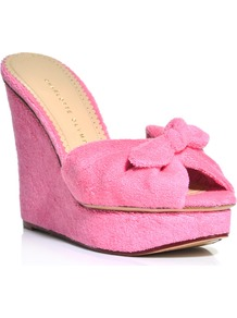 Jayne Towelling Wedges - predominant colour: pink; occasions: casual, evening, occasion, holiday; material: fabric; heel height: high; heel: wedge; toe: open toe/peeptoe; style: mules; finish: plain; pattern: plain; embellishment: bow