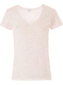 Sheer Slub T Shirt - neckline: v-neck; pattern: plain; style: t-shirt; predominant colour: blush; occasions: casual; length: standard; fibres: cotton - 100%; fit: loose; sleeve length: short sleeve; sleeve style: standard; pattern type: fabric; pattern size: standard; texture group: jersey - stretchy/drapey