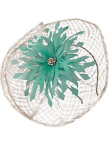 Fascinator - predominant colour: mint green; occasions: occasion; type of pattern: heavy; style: fascinator; size: standard; material: fabric; embellishment: beading, crystals, feather, pearls, corsage; pattern: florals, two-tone; trends: high impact florals