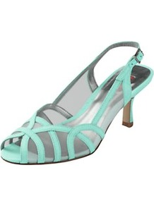 Slingback Occasion Shoes - predominant colour: mint green; occasions: evening, occasion, holiday; material: leather; heel height: mid; embellishment: buckles; ankle detail: ankle strap; heel: kitten; toe: open toe/peeptoe; style: strappy; finish: patent; pattern: plain