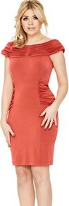 Ruched Jersey Bodycon Dress, Orange - neckline: slash/boat neckline; sleeve style: capped; fit: tight; pattern: plain; style: bodycon; waist detail: twist front waist detail/nipped in at waist on one side/soft pleats/draping/ruching/gathering waist detail; hip detail: fitted at hip; predominant colour: bright orange; occasions: evening, occasion; length: just above the knee; fibres: polyester/polyamide - stretch; shoulder detail: flat/draping pleats/ruching/gathering at shoulder, structured/bulky pleats/bulky detail at shoulder; sleeve length: sleeveless; texture group: jersey - clingy; pattern type: fabric; pattern size: standard