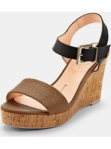 Breen Wedge Sandals, Tan - predominant colour: tan; occasions: casual, evening, work, holiday; material: leather; heel height: high; embellishment: buckles; ankle detail: ankle strap; heel: wedge; toe: open toe/peeptoe; style: standard; finish: patent; pattern: plain, two-tone, colourblock
