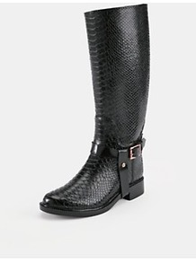 Fesa Wellie Riding Boots, Black - predominant colour: black; occasions: casual, evening, work; material: faux leather; heel height: mid; embellishment: buckles, studs, chain/metal; heel: standard; toe: round toe; boot length: knee; style: riding; trends: metallics; finish: patent; pattern: animal print, patterned/print