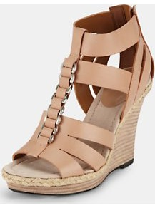 Wedge Sandals - predominant colour: nude; occasions: casual, evening, holiday; material: leather; heel height: high; ankle detail: ankle strap; heel: wedge; toe: open toe/peeptoe; style: gladiators; finish: plain; pattern: plain; embellishment: chain/metal