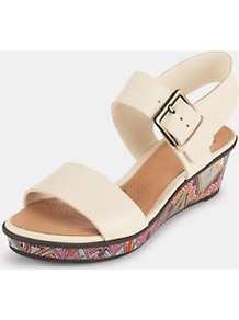 Rose Wedge Sandals, Black - predominant colour: blush; occasions: casual, work, holiday; material: leather; heel height: mid; embellishment: buckles; ankle detail: ankle strap; heel: wedge; toe: open toe/peeptoe; style: standard; trends: high impact florals; finish: plain; pattern: patterned/print, plain