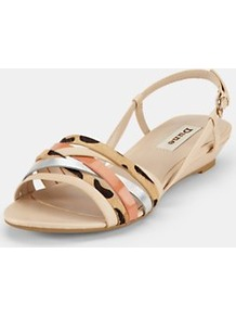Strappy Sandals - predominant colour: nude; occasions: casual, evening, work, holiday; material: leather; heel height: mid; embellishment: buckles; heel: wedge; toe: open toe/peeptoe; style: strappy; trends: metallics; finish: plain; pattern: animal print