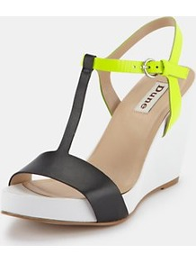 Wedge Shoes, Black - predominant colour: black; occasions: casual, evening, work, occasion, holiday; material: leather; heel height: high; embellishment: buckles; ankle detail: ankle strap; heel: wedge; toe: open toe/peeptoe; style: standard; trends: fluorescent; finish: plain; pattern: plain, colourblock