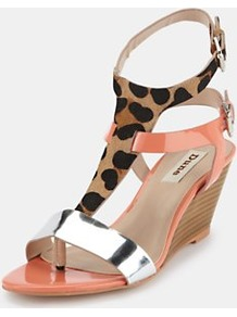 Multi Strap Toe Post Sandals - predominant colour: coral; occasions: evening, occasion, holiday; material: leather; heel height: high; embellishment: buckles; ankle detail: ankle strap; heel: wedge; toe: open toe/peeptoe; style: strappy; trends: sporty redux, metallics; finish: patent; pattern: animal print, colourblock