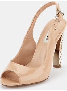 Slingback Shoes - predominant colour: nude; occasions: evening, work, occasion; material: leather; heel height: high; embellishment: buckles; heel: stiletto; toe: open toe/peeptoe; style: slingbacks; trends: modern geometrics; finish: patent; pattern: patterned/print, plain