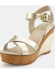 Gold Leather Wedge Sandals, Gold - predominant colour: gold; occasions: casual, evening, holiday; material: leather; heel height: high; embellishment: buckles; ankle detail: ankle strap; heel: wedge; toe: open toe/peeptoe; style: standard; trends: metallics; finish: metallic; pattern: plain, colourblock