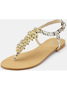 Flat Sandals, Gold - predominant colour: gold; occasions: casual, evening, holiday; material: faux leather; heel height: flat; embellishment: buckles, crystals, chain/metal; ankle detail: ankle strap; heel: standard; toe: toe thongs; style: flip flops / toe post; finish: plain; pattern: animal print