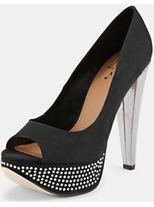 Platform Shoes, Black - predominant colour: black; occasions: evening, occasion; material: suede; heel height: high; embellishment: crystals, studs; heel: platform; toe: open toe/peeptoe; style: courts; trends: metallics; finish: plain; pattern: patterned/print, plain