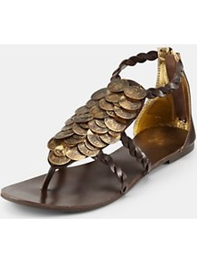 Flat Sandals, Chocolate - predominant colour: chocolate brown; occasions: casual, holiday; material: leather; heel height: flat; embellishment: zips, chain/metal; ankle detail: ankle strap; heel: standard; toe: toe thongs; style: flip flops / toe post; trends: metallics; finish: plain; pattern: patterned/print, plain