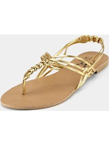 Sandals, Gold - predominant colour: gold; occasions: casual, evening, holiday; material: faux leather; heel height: flat; embellishment: elasticated; ankle detail: ankle strap; heel: standard; toe: toe thongs; style: flip flops / toe post; trends: metallics; finish: metallic; pattern: plain