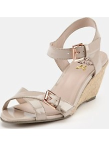 Wedge Sandals, Black - predominant colour: nude; occasions: casual, evening, work, holiday; material: faux leather; heel height: mid; embellishment: buckles; ankle detail: ankle strap; heel: wedge; toe: open toe/peeptoe; style: strappy; finish: patent; pattern: plain