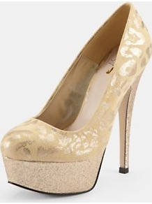 Romana Leopard Glitter Platform Court Shoes, Gold - predominant colour: gold; occasions: evening, occasion; material: leather; heel height: high; embellishment: glitter; heel: platform; toe: round toe; style: courts; trends: metallics; finish: metallic; pattern: animal print, patterned/print