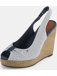 Emergy Slingback Espadrille Wedges, White - predominant colour: white; occasions: casual, holiday; material: fabric; heel height: high; embellishment: elasticated; heel: wedge; toe: open toe/peeptoe; style: standard; finish: plain; pattern: striped, vertical stripes