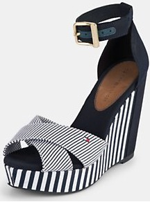 Estelle Nautical Stripe Wedges, Navy - predominant colour: navy; occasions: casual, evening, holiday; material: fabric; heel height: high; embellishment: buckles; ankle detail: ankle strap; heel: wedge; toe: open toe/peeptoe; style: strappy; trends: striking stripes; finish: plain; pattern: striped, vertical stripes, colourblock