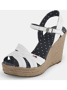 Lively Espadrille Wedge Sandals, White - predominant colour: white; occasions: casual, evening, holiday; material: faux leather; heel height: high; ankle detail: ankle strap; heel: wedge; toe: open toe/peeptoe; style: strappy; finish: plain; pattern: plain