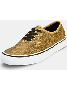 Authentic Plimsolls Gold, Gold - predominant colour: gold; occasions: casual, evening, holiday; material: fabric; heel height: flat; embellishment: glitter; toe: round toe; style: trainers; trends: metallics; finish: metallic; pattern: two-tone