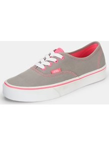 Authentic Plimsolls Grey/Pink, Grey - predominant colour: mid grey; occasions: casual, holiday; material: fabric; heel height: flat; toe: round toe; style: trainers; trends: sporty redux, fluorescent; finish: plain; pattern: two-tone