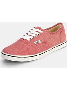 Authentic Lo Pro Plimsolls Red, Red - predominant colour: true red; occasions: casual; material: fabric; heel height: flat; toe: round toe; style: trainers; finish: plain; pattern: plain