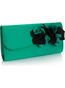 Josefina Clutch - predominant colour: emerald green; occasions: evening, occasion; type of pattern: light; style: clutch; length: hand carry; size: small; material: satin; pattern: plain; trends: sculptural frills; finish: plain; embellishment: corsage