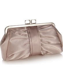 Cuba Clutch - predominant colour: taupe; occasions: evening, occasion; type of pattern: light; style: clutch; length: hand carry; size: small; material: satin; embellishment: pleated, jewels; pattern: plain; finish: plain