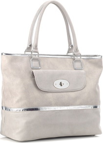 Freesia Bag - predominant colour: light grey; occasions: casual, work, holiday; type of pattern: light; style: tote; length: handle; size: oversized; material: faux leather; pattern: plain, two-tone; trends: metallics; finish: plain; embellishment: chain/metal