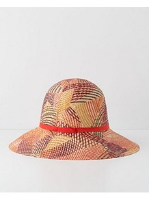 Leaf Lines Floppy Hat - occasions: casual, holiday; predominant colour: multicoloured; type of pattern: large; style: wide brimmed; size: standard; material: macrame/raffia/straw; embellishment: ribbon; pattern: patterned/print
