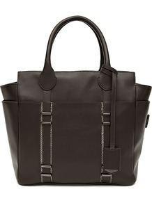 Serena Luggage Tag Tote - predominant colour: charcoal; occasions: casual, work; type of pattern: standard; style: tote; length: handle; size: standard; material: leather; pattern: plain; finish: plain