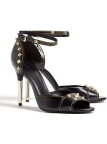 Black Studded High Peeptoe Stiletto Sandals - predominant colour: black; occasions: evening, occasion; material: leather; heel height: high; embellishment: buckles, studs; ankle detail: ankle strap; heel: stiletto; toe: open toe/peeptoe; style: courts; finish: plain; pattern: patterned/print, plain