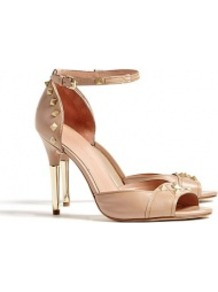 Beige Studded High Peeptoe Keiko Pumps - predominant colour: nude; occasions: evening, occasion; material: leather; heel height: high; embellishment: buckles, studs; ankle detail: ankle strap; heel: stiletto; toe: open toe/peeptoe; style: courts; finish: plain; pattern: patterned/print, plain