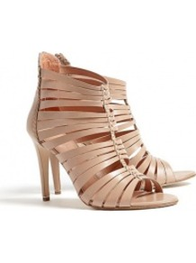 Nude Strappy Ankle Mary Sandals - predominant colour: nude; occasions: evening, occasion, holiday; material: leather; heel height: high; embellishment: zips; ankle detail: ankle strap; heel: stiletto; toe: open toe/peeptoe; style: gladiators; finish: plain; pattern: plain