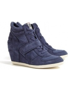 Navy Bowie Suede And Canvas Wedge Trainers - predominant colour: navy; occasions: casual, holiday; material: suede; heel height: high; heel: wedge; toe: round toe; boot length: ankle boot; style: high top; trends: sporty redux; finish: plain; pattern: plain