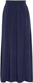 Elastic Waist Floaty Maxi Skirt With Pockets - pattern: plain; length: ankle length; fit: loose/voluminous; waist detail: elasticated waist, twist front waist detail/nipped in at waist on one side/soft pleats/draping/ruching/gathering waist detail, narrow waistband; waist: high rise; predominant colour: navy; occasions: casual, work, holiday; style: maxi skirt; fibres: polyester/polyamide - 100%; hip detail: soft pleats at hip/draping at hip/flared at hip; pattern type: fabric; pattern size: standard; texture group: jersey - stretchy/drapey