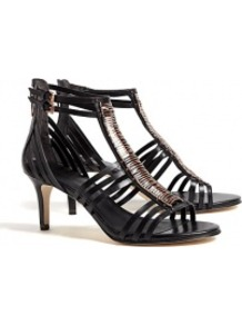 Black Leather Mid Heel Kiki Gladiator Sandals Sigerson Mo - predominant colour: black; occasions: evening, occasion, holiday; material: leather; heel height: mid; embellishment: buckles, zips, chain/metal; ankle detail: ankle strap; heel: standard; toe: open toe/peeptoe; style: gladiators; finish: plain; pattern: plain