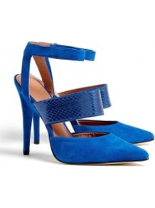 Blue Suede Pointed Toe Brielle Pumps - predominant colour: royal blue; occasions: evening, work, occasion; material: suede; ankle detail: ankle strap; heel: stiletto; toe: pointed toe; style: courts; finish: plain; pattern: plain; heel height: very high