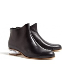 Exclusive Beau5 Zip Back Ankle Boots - predominant colour: black; occasions: casual, work; material: leather; heel height: flat; embellishment: studs, zips, toe cap; heel: block; toe: round toe; boot length: ankle boot; style: standard; finish: plain; pattern: plain