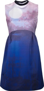 Sleeveless Printed Empire Dress - style: empire line; length: mid thigh; fit: empire; sleeve style: sleeveless; predominant colour: royal blue; occasions: evening, occasion; fibres: polyester/polyamide - 100%; neckline: crew; sleeve length: sleeveless; texture group: sheer fabrics/chiffon/organza etc.; pattern type: fabric; pattern size: small &amp; light; pattern: patterned/print