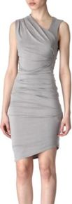 Draped Brushed Cupro Dress - neckline: v-neck; fit: tight; pattern: plain; sleeve style: sleeveless; style: asymmetric (top); waist detail: fitted waist; predominant colour: light grey; occasions: evening, occasion; length: just above the knee; fibres: cotton - stretch; shoulder detail: asymmetric shoulder detail/one shoulder; sleeve length: sleeveless; pattern type: fabric; pattern size: standard; texture group: other - light to midweight
