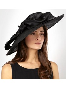 Designer Black Satin Bow Saucer Hat - predominant colour: black; occasions: evening, occasion; type of pattern: standard; style: wide brimmed; size: large; material: sinamay; embellishment: bow; pattern: plain